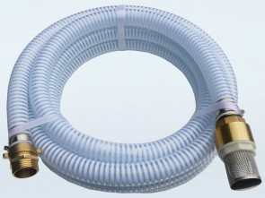 """1"""" Suction Hose Kit with Foot Valve / Strainer and Brass Threaded Fitting - 5m Length"""