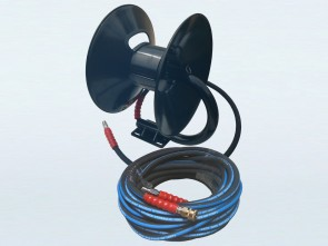 Hand Crank Pressure Washer Hose Reel with Fixed Base & 20m Heavy Duty Hose