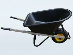 Wheelbarrow 100L Poly Tray - Wide Wheel & Galvanised Arms