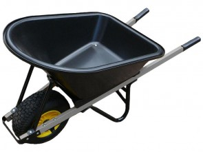 Wheelbarrow 100L Poly Tray - Wide No Flat Wheel & Galvanised Arms